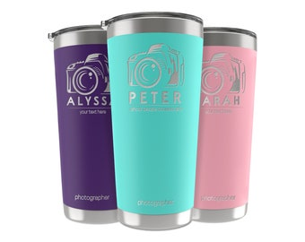 Photographer Gifts, 34 Job Titles, Personalized Tumbler Custom w/Name, Quote 20 OZ-30 OZ, Appreciation, Retirement Gifts for Men and Women
