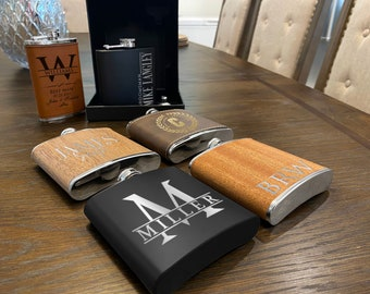 Set of 6 or Only 1 Groomsmen Gift - Engraved Leather, Metal or Wood Personalized Flask Set - Groomsman Gifts Flask, Customized Wedding Flask