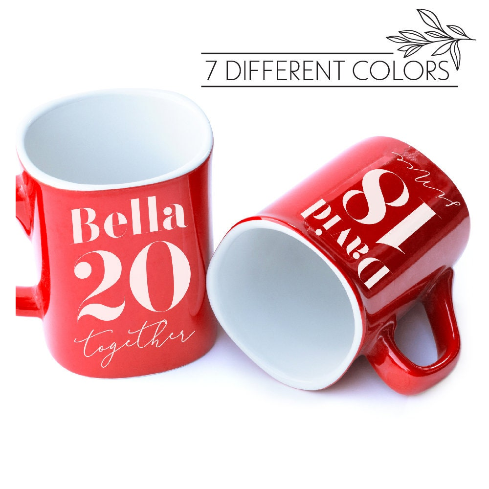 Set Of 2 Personalized Coffee Mug For Couples Together Since