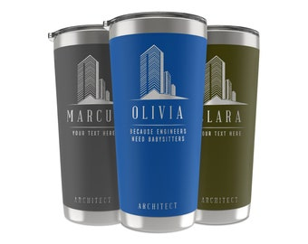 Architect Gifts, 34 Job Titles, Personalized Tumbler Custom w/Name, Quote 20 OZ-30 OZ, Chef Gifts for Men, Women, Architect Graduation Gifts