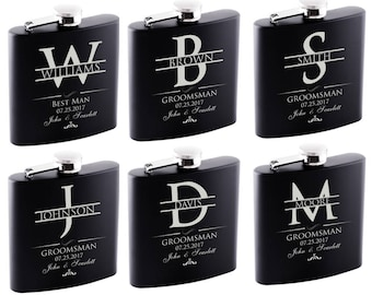 P Lab Set of 6 or Only 1 Groomsmen Gift - Personalized Flask Set - Groomsman Gifts Hip Flask, Customized Flask Set | Wedding Flask Set - 2