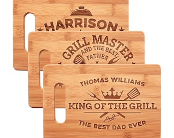 Father's Day Gifts for Dad, Personalized Bamboo Cutting Board for Grill Master, King of The Grill - Gift for Grandpa, Daddy, Best Dad, Uncle