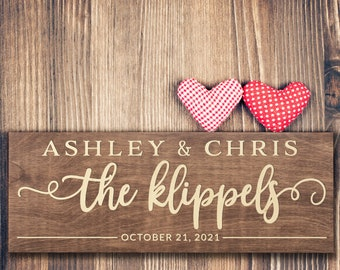 Personalized Wedding Sign, Custom Wood Engraved w/Names, 17.5''x6'' Wedding Plaque for Ceremony, Bridal Shower, Family Established Name