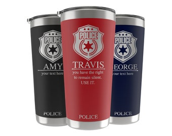Police Officer Gifts, 34 Job Titles, Personalized Tumbler Custom w/Name, Quote 20 OZ-30 OZ, Police Academy Graduation, Gifts for Retirement