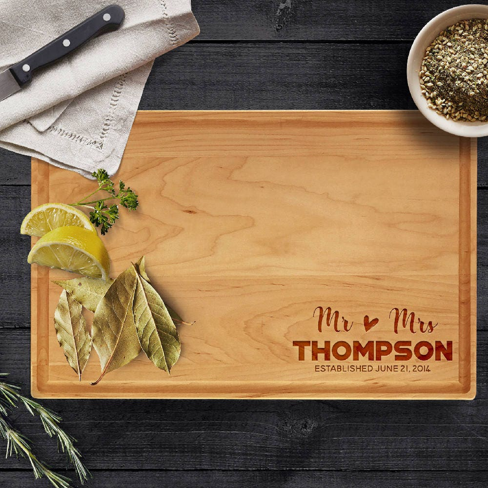 personalized cutting board last name date engraved gifts for parents natural wood cutting board wedding christmas housewarming