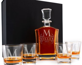 Father's Day Gift Whiskey Decanter or Set w/ Glasses, Valentine's Gifts For Him, Housewarming, Groomsman, Custom Husband, Whiskey Gift