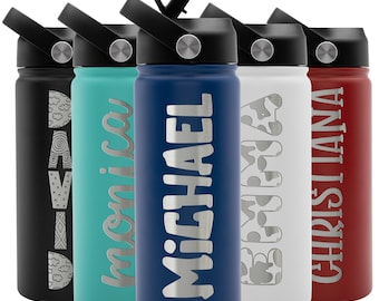 Kids Water Bottle Personalized w Straw Lid, Double Wall Insulated | 18 oz - 9 Color | Custom Water Bottle w Name Gift for Children