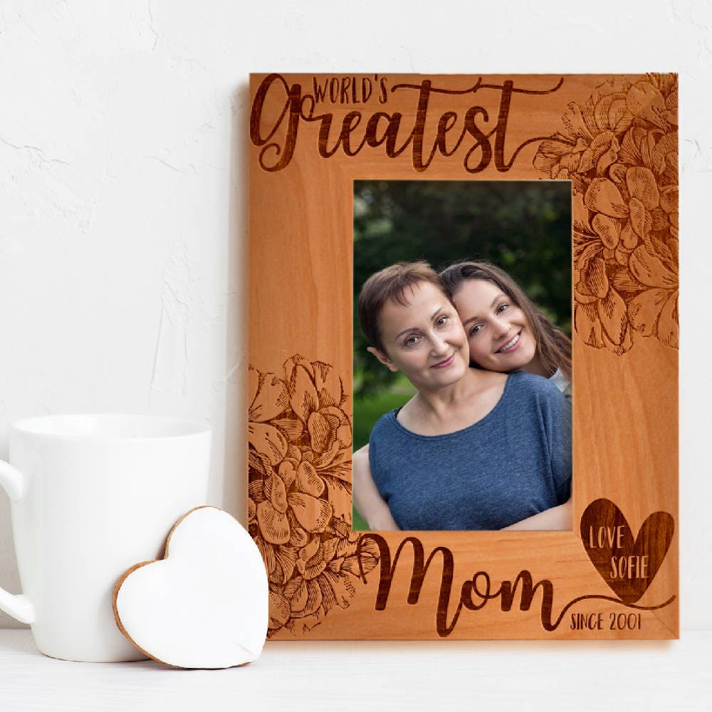 Personalized Greatest Mom Ever Photo Frame Custom Engraved Frame