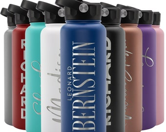 Personalized Water Bottle w/Straw Lid, 40 oz   Custom Stainless Steel Sports Water Bottle w/Name and Text - Gift for Him - Rotating Handle