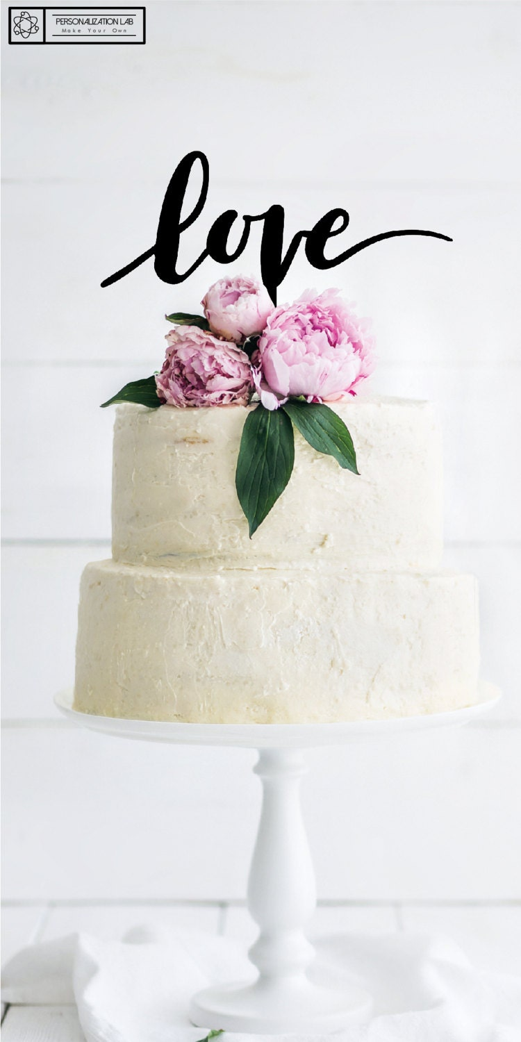 Love Elegant Wedding Cake Topper, Acrylic, Real Wood and Luxe Colors ...