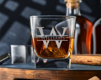 Monogram Whiskey Glasses, Bourbon Decanter Glass Gift for Men Fathers Day Birthday Scotch Glasses Drinkware College Graduation Gift Engraved