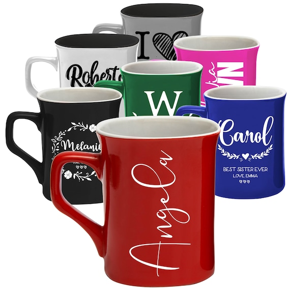 Set Of 2 Mugs Personalised Mr and Mrs Coffee Cups Wedding Mug Engagement Gift-D2