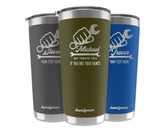 Handyman Gifts for Men, 34 Job Titles, Personalized Tumbler Custom w/Name & Quote, 20 OZ-30 OZ, Appreciation, Retirement, Christmas Gifts