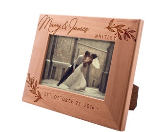 Personalized Picture Frame - Flourish Personalized Romantic, Wedding Engagement Photo Frame, Valentine's Day Christmas Gift for Couples #7