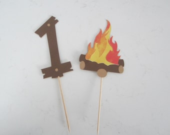 Camp theme, campfire toppers, camping theme party, outdoors, adventure theme, cake toppers, camp theme birthday