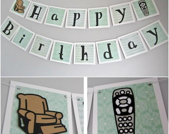 Happy Birthday Banner, for him, humor, funny banner, for dad, father's day, party decoration,