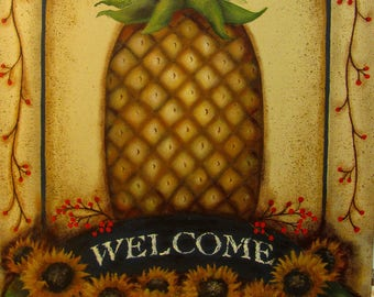 Welcome Pineapple 12x18 Original Painting on Canvas