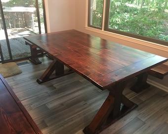 Farmhouse table, dining room table, wood