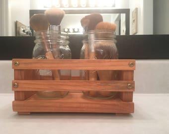 Decorative, wooden, double Mason jar, crate, organizer,farmhouse, rustic