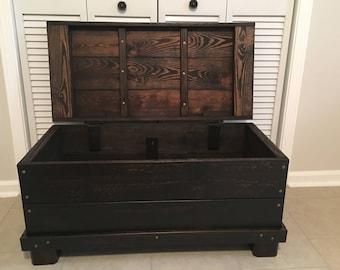 Hinged Wood trunk, coffee table