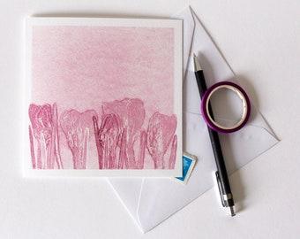 Crocus Greetings Card | Art | Floral | Botanical | Birthday | Wedding | Fresh Pink Flowers | Spring Equinox | New Born Baby | Easter