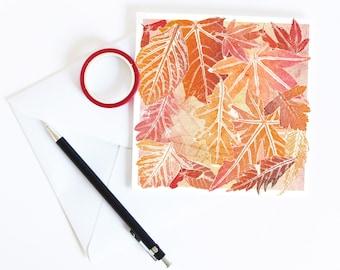 Autumn Leaves Greetings Card | Art | Floral | Botanical | Halloween | Birthday | Mabon Blessings | Equinox | Fall | Thanksgiving