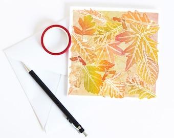 Turning Leaves Greetings Card | Art | Floral | Botanical | Halloween | Birthday | Mabon Blessings | Equinox | Fall | Autumn | Thanksgiving
