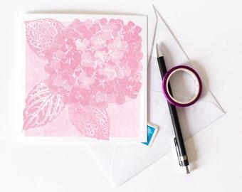 Hydrangea Greetings Card | Art | Floral | Botanical | Birthday | Wedding | Pink Flowers | Summer Solstice | Midsummer | New Born Baby