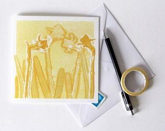 Daffodil Greetings Card | Art | Floral | Botanical | Birthday | Wedding | Spring Equinox | New Born Baby | Easter | Sunny Yellow Flowers