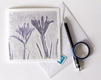 Iris Greetings Card | Art | Floral | Botanical | Birthday | Birth Flower | Wedding | Spring Equinox | Purple Flowers | Easter | Sympathies