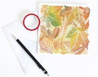 Fallen Leaves Greetings Card | Art | Floral | Botanical | Halloween | Birthday | Mabon Blessings | Equinox | Fall | Autumn | Thanksgiving