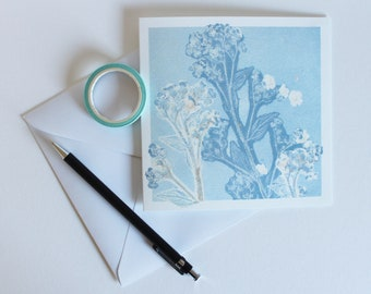 Green Alkanet Greetings Card | Art | Floral | Botanical | Birthday | Wedding | New Born Baby | Blue Flower | Wildflower | Herbal | Sympathie