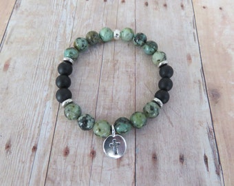 African Turquoise Natural Gemstones, Silver Plated Christian Cross Charm, Spiritual Stretch Bracelet