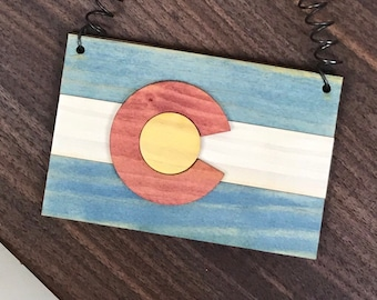 Wooden Colorado Flag Ornament