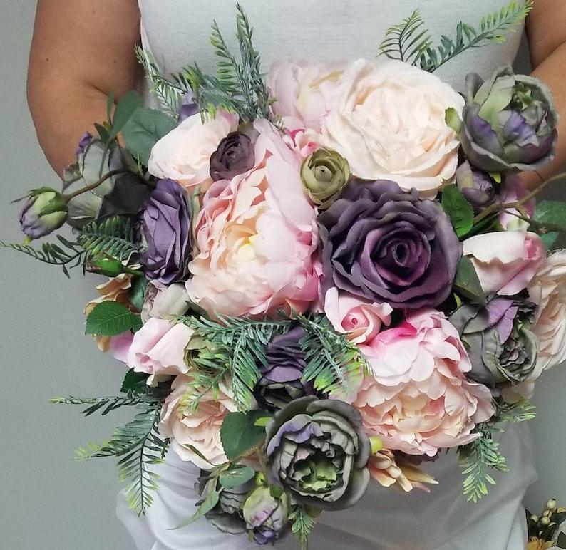 Wedding,Bridal Bouquet,Silk Flower,Rose,Greenery,Peony,Dusty,Mauve,Pink,Pale,Violet,Daisy,Purple,Lilac,Blush,Fall,Green,Lavender,Boho,Rustic