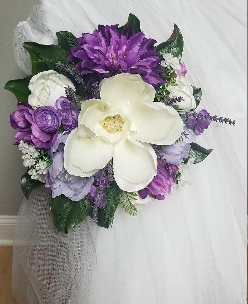 Silk Flowers,Wedding,Bridal Bouquet,Lilac,Off White Roses,Anemones,Dark Purple,Dahlia,Lavender,Magnolia,Peonies,Beige,Greenery,Ivory,Violet