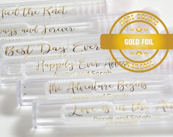 Wedding Bubble Labels, Personalized Wedding Labels, Custom Wedding Stickers,Gold Foil Label, Gold Clear label, Gold Wedding Labels