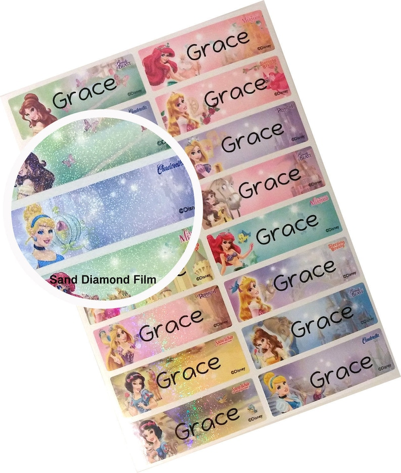 b65df1492339 Waterproof Name Labels, Waterproof Name Stickers, Disney Princess, glitter  sticker, custom sticker, custom labels,personalized sticker,LARGE