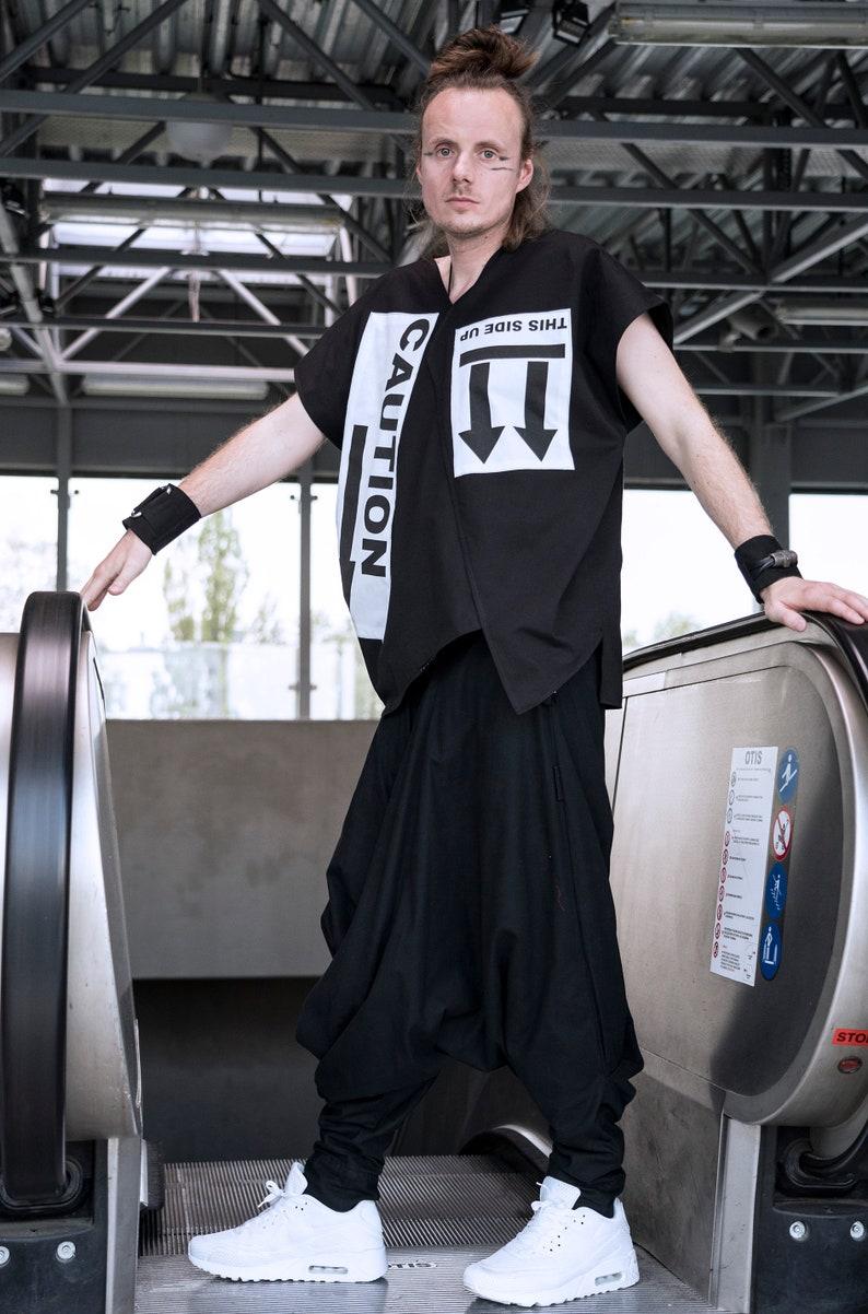 CAUTION shirt black and white modern samurai unique handprinted shirt alternative fashion 100/% cotton