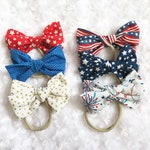 Memorial Day / Independence Day Fabric Hair bows on Nylon Headband or Alligator Clip