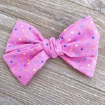 Pink Sprinkles Handtied Fabric Hair Bow on Alligator Clip or Nylon Headband