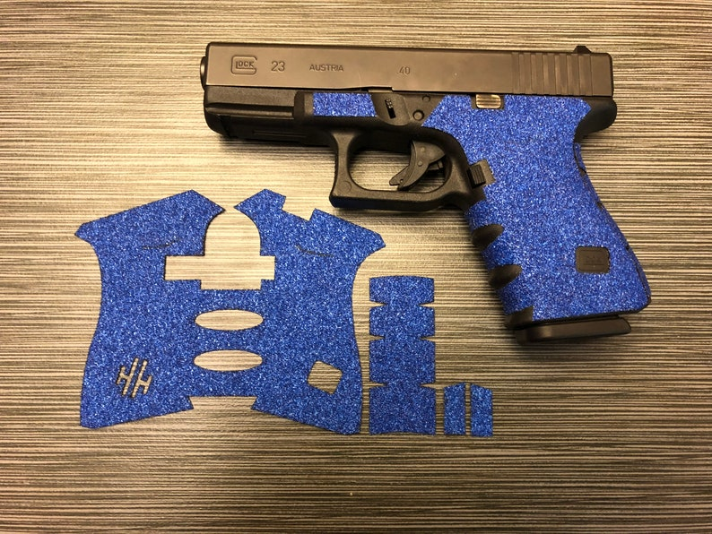 HANDLEITGRIPS Blue Sandpaper Gun Grip Wrap for Glock 19 GEN 3
