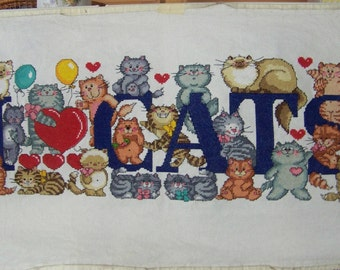 I LOVE CATS counted cross stitch picture.
