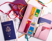 Travel wallet, Leather monogram travel wallet. Personalized wallet organizer, Leather passport wallet, Passport holder, Passport cover
