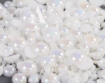 White AB Flatback Half Round Pearls for Embellishments 3-16mm