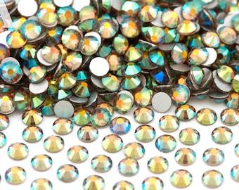 Golden Pear Green Glass Rhinestones for Embellishments 2-6mm