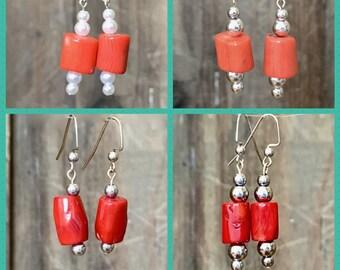 Peach Pink Earrings Stainless Steel Earrings Elegant Dangle Earrings Simple Everyday Earrings Minimalist Beaded Earring Work Coral Earrings