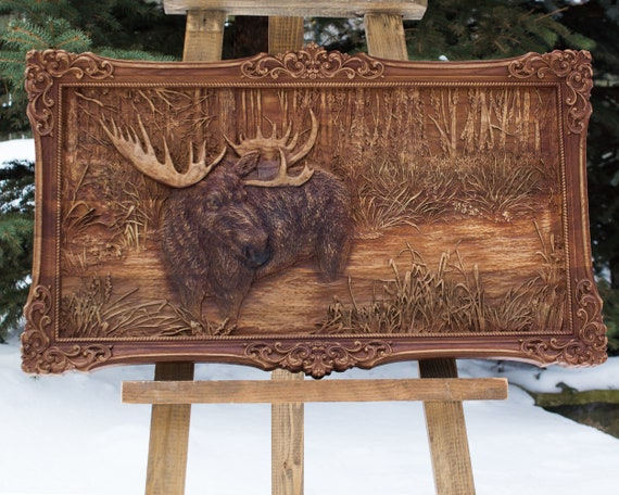 Carved Moose Wall Art Wood Carving Moose Carved From Oak 39 By Etsy