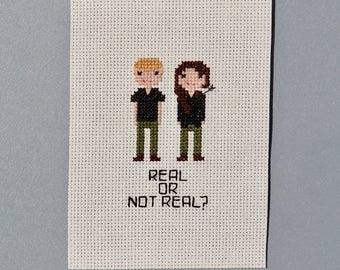 Hunger Games Cross Stitch Fan Art - Real or Not Real? Katniss & Peeta