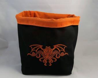 Orange Cthulhu Drawstring Bag, Arkham Horror Token Bag, Cthulhu Monster Cup, Lovecraft Dice Bag, Eldritch Themed Bag, Gift for Board Gamers